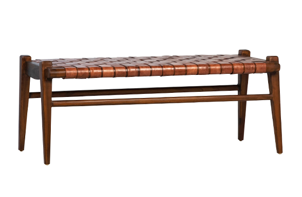 "This Salazar Bench is made of sturdy teak wood with a full grain weaved leather seat. A stunning choice for any dining room, end of the bed, or mudroom.  TEAK WOOD AND FULL GRAIN LEATHER WEAVE MEDIUM BROWN LEATHER AND STAINED WOOD INDONESIA Size: 45""l x  19""d x 18""h"