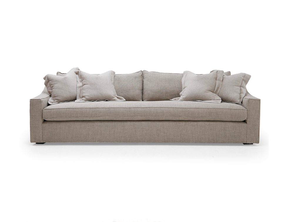With its beautiful sweeping profile, the Clarence Sofa fits neatly into any environment. Bench-crafted with a sustainably harvested hardwood frame and 8-way hand-tied seat construction, it comes standard with:  • Spring Down Seat Construction • Loose Boxed Style Seat Cushion • Notch Bottom Back Pillows • Knife Edge Toss • Double Needle • Recessed Leg • Upholstered Only • Available as a Chaise Sectional Only