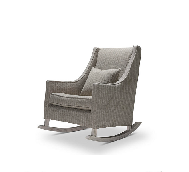 We are in love with this adorable modern take on the rocking chair.  Standard features include:  • Foam Down Wrap Seat • Button Tufted Seat Optional • Notch Bottom Toss • Nailhead Optional • Please Specify Finish • Slipcovered and Upholstered available • Double Needle