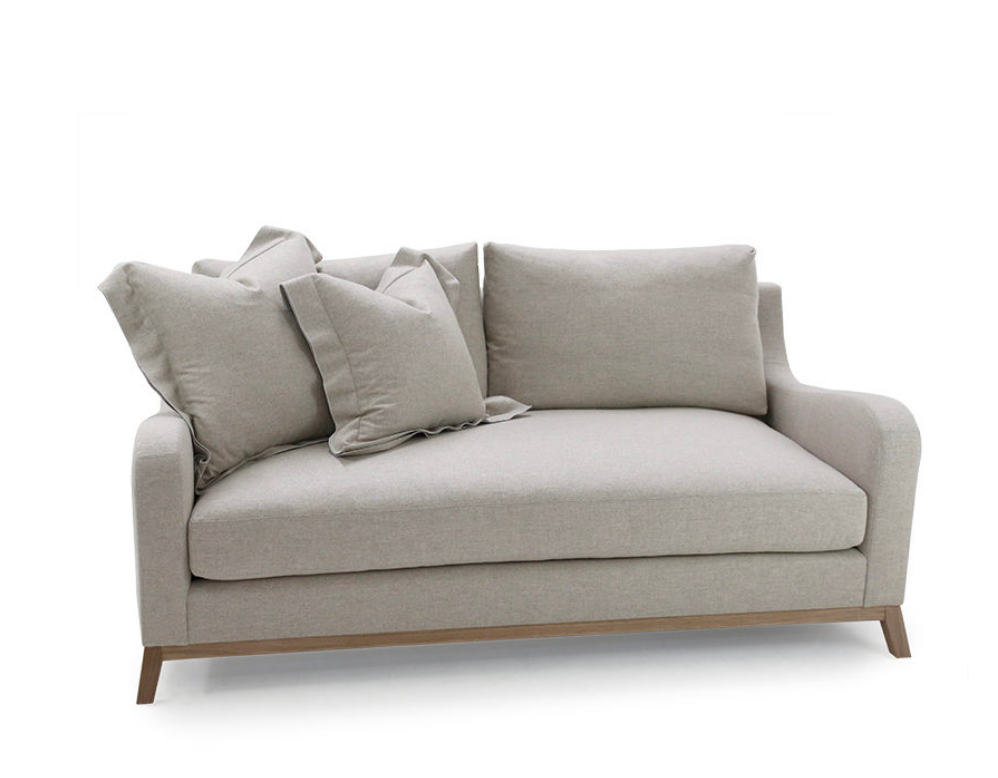 A Verellen classic, the June Sofa Family features:  Spring down seat construction Boxed style back pillows Loose bench style seat cushion Knife edge toss pillows 5 1/2″ H wood base