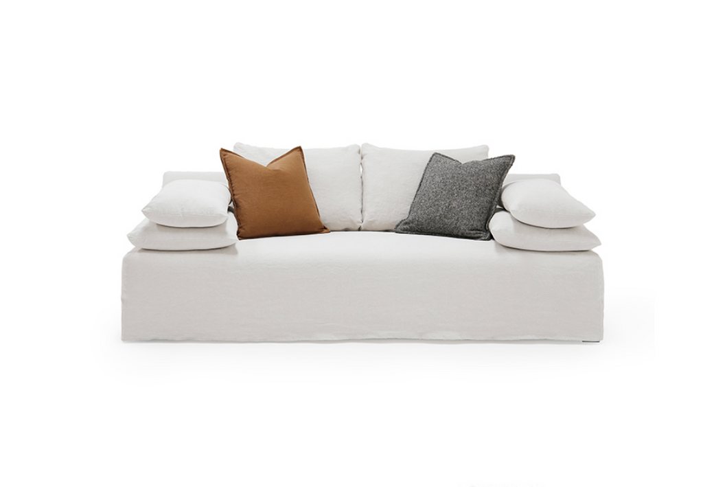 A Verellen original and one of our best selling product lines, the Maxim Sofa Family comes standard with:  Slipcovered Arm pillows semi attached to slipcover Spring down seat construction Notch bottom toss pillows Loose back configuration Double needle stitch detail