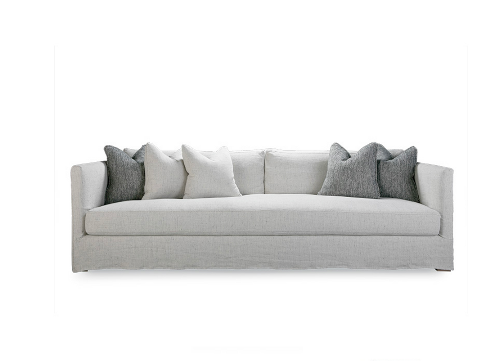 The Millie Sofa from Verellen is made with a sustainably harvested hardwood frame and 8-way hand-tied seat construction. It comes standard with:  Spring/down seat construction Loose boxed style seat cushion Boxed back pillows Multi toss pillows Double needle stitch detail Please specify leg finish. Available as a sleeper and sectional.
