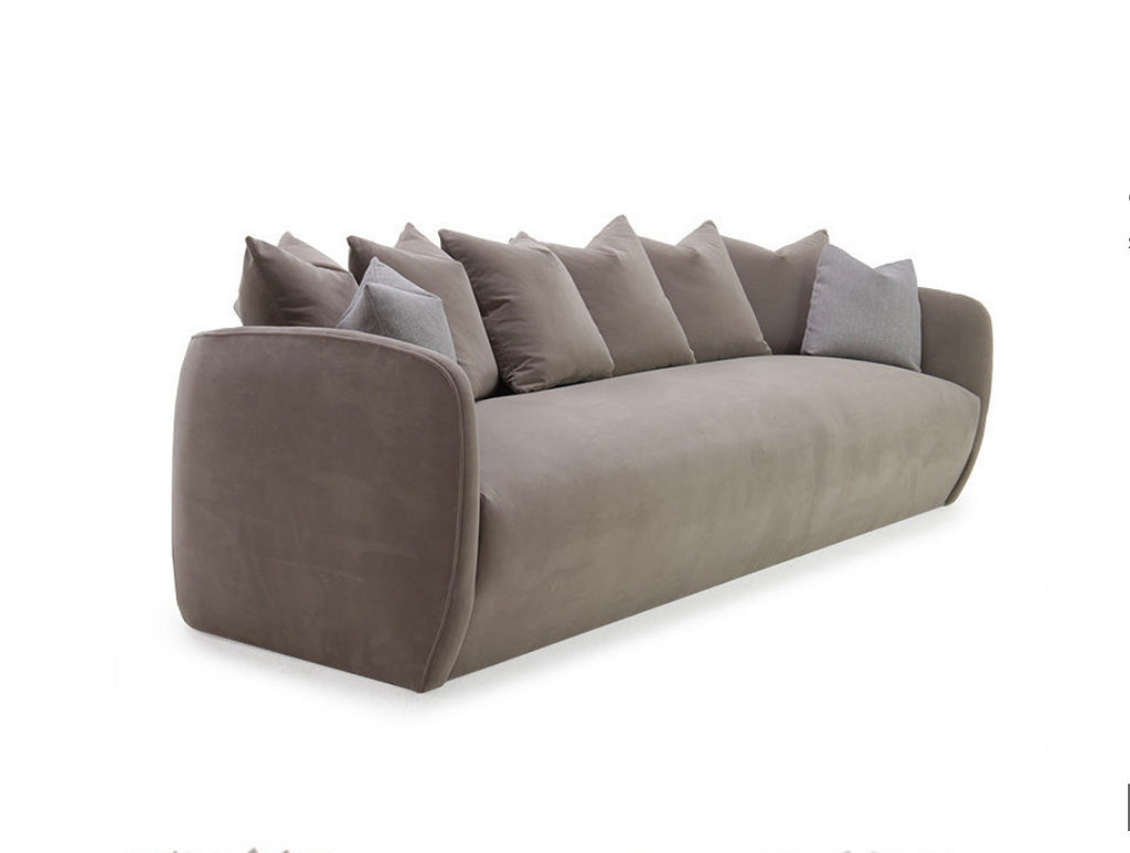 The Milo Sofa is a modern masterpiece from Verellen. It comes standard with:  Spring down Tight seat and back Multi-back pillow configuration Notch bottom toss pillows Double needle stitch detail Upholstered On glides