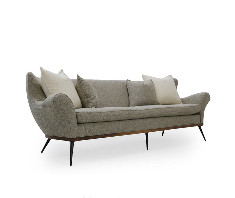 The Paulette is bench crafted by master upholsterers in Verellen's High Point, NC factory and comes standard with:  • Foam Down Wrap Loose Seat • Tight Back • Hammered Solid Metal Legs • Knife Edge Toss • Double Needle • Upholstered Only