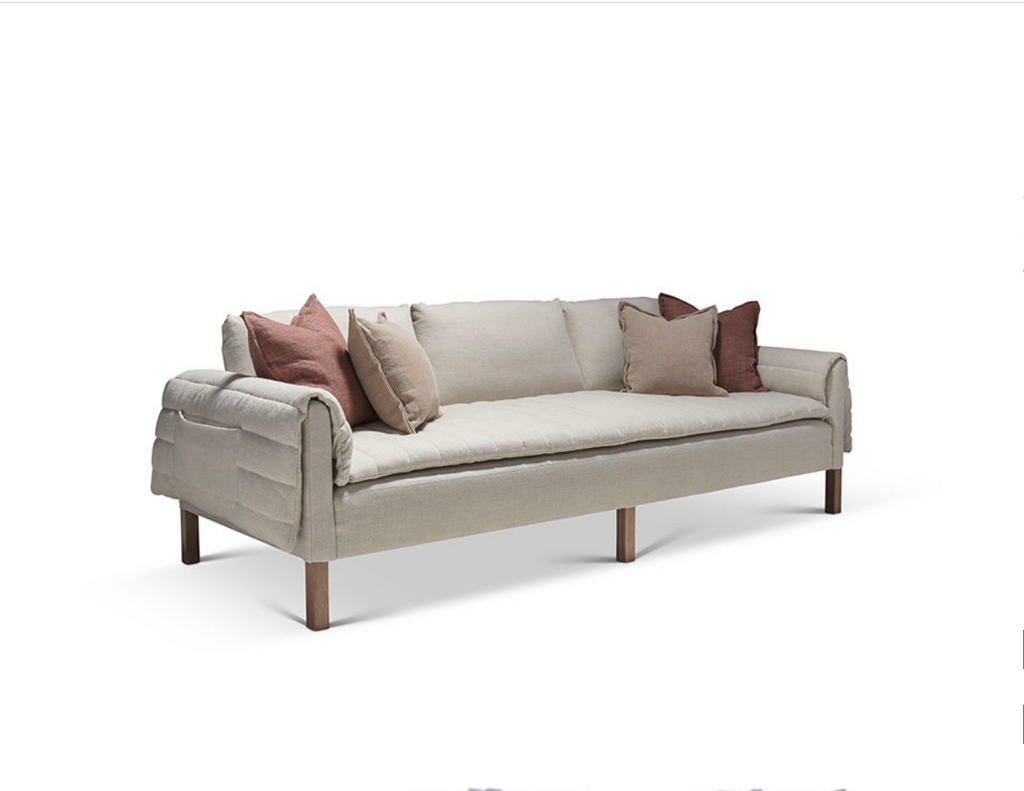 The Penelope offers both style and comfort. Bench-crafted with a sustainably harvested hardwood frame and 8-way hand-tied seat, this Verellen sofa comes standard with:  Foam/down tight seat Quilted padding on seat and rolled over arms Back pillows roll over back Double needle stitch detail Standard walnut legs
