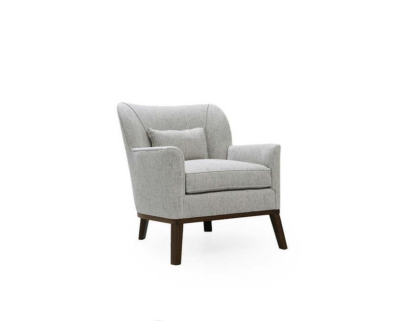 The Reva Occasional Chair is made with a sustainably harvested hardwood frame and 8-way hand-tied seat construction, this gorgeous chair by Verellen comes standard with:  • Double-needle stitch • Upholstered only • Foam down seat construction • Loose boxed seat cushion • Knife edge back pillow • Exposed legs and base