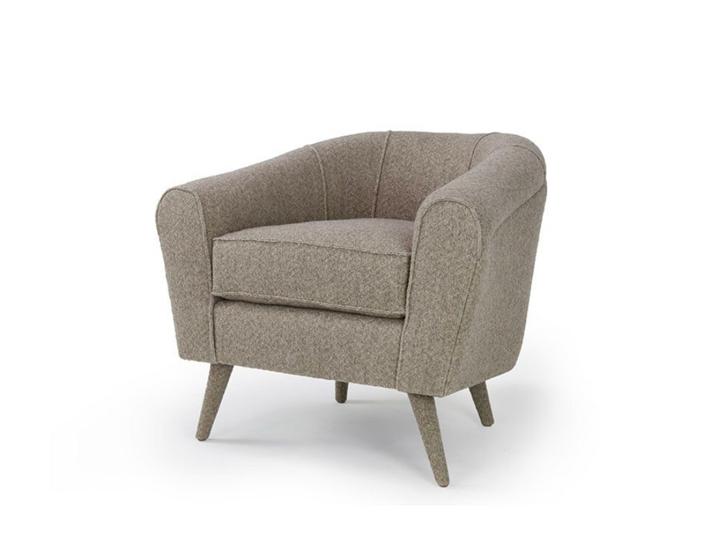 The Santiago Occasional Chair is small but mighty! This comfortable dream by Verellen includes:  Spring/down seat construction Double needle stitch detail Upholstered legs