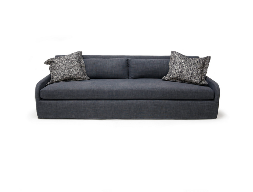 The Sophie Sofa is bench-crafted in Verellen's North Carolina atelier, and features:  •  Spring down seat construction •  Boxed style seat and back cushions •  Knife edge droopy microfiber toss pillows •  Double needle stitch detail •  2″ high legs