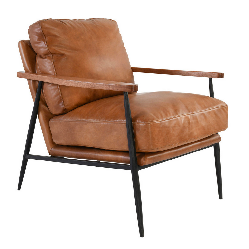"Flared legs give this chair a mid-century modern feel while full grain top leather upholstery offers luxurious comfort and durability. 27W x 33D x 34H Top Grain Leather Rubberwood Armrests Seat Height 18.9"" Armrest Height 23.8"" Hammered Iron Frame"