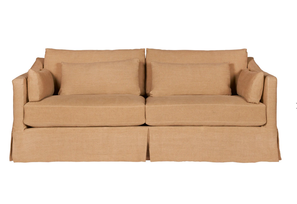 Soft as a cloud, the Rebecca is the perfect piece to complete your living room. It's base is a FSC certified Maple hardwood frame. This sofa has a luxurious feather cloud fill with a foam core, bringing relaxation and ease into your home.  Priced and pictured in tier two fabric Brevard Burlap. For additional fabrics please email sales@amethysthome.com.