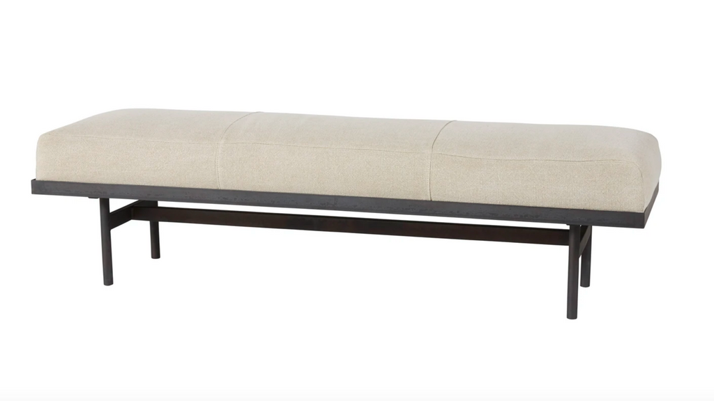 "The Lincoln bench is an Amethyst favorite, crafted to perfection with a metal base and your choice of fabric.  Overall dimensions  60""w 18""d 17""h"