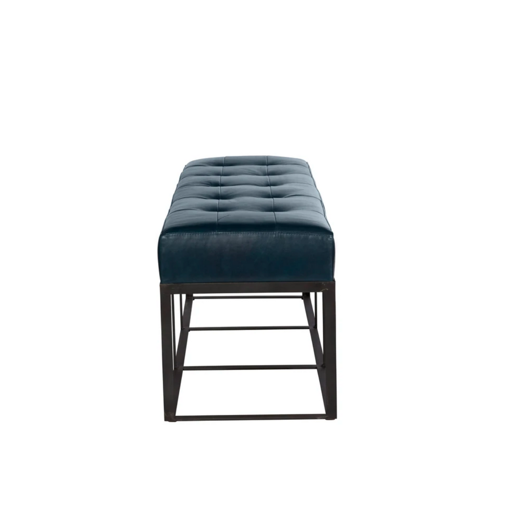 "We're obsessed with the look of the metal base and leather cushion. The Crus Bench from Cisco Brothers adds a sophisticated look to any space.  Overall: 48""w x 16""d x 19""h  Seat Height: 19""h"
