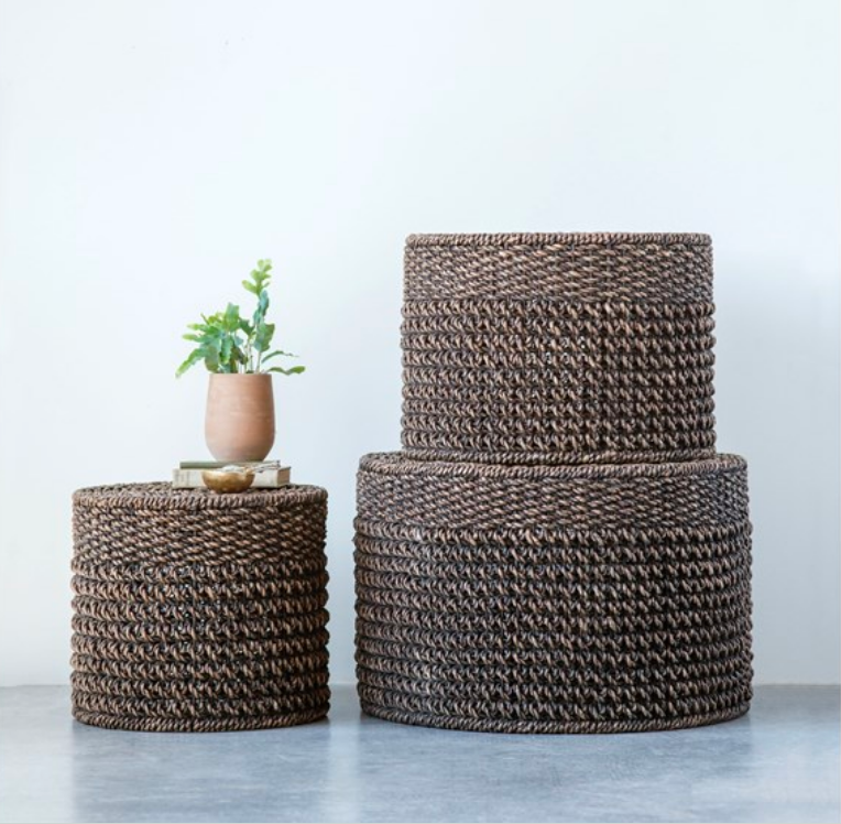 Natural Woven Water Hyacinth Ottomans - Amethyst Home