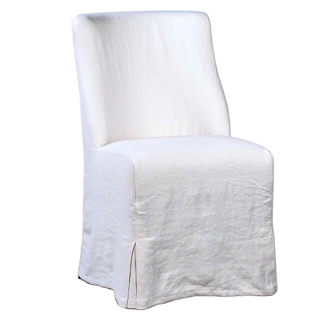 "The Craig Dining Chair is featured in a gorgeous white linen slip cover in a Belgian wrinkle.   LINEN FABRIC AND BIRCH FRAME WHITE Size: 19""l x 23""d x 35""h Seat Height: 20""h"