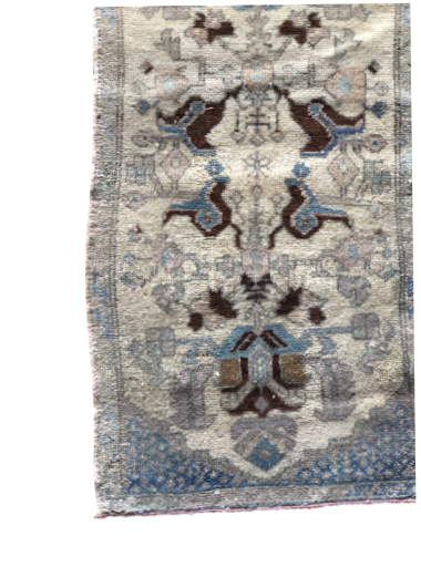 "The Aria Mini Vintage Rug is in beautiful condition and size. This hand knotted vintage Anatolian Yastik rug is easy to care and maintain and will have very little shedding. The rug is a perfect fit for an entryway, bathroom, back door, laundry room, bedroom, or any other place!  Hand Knotted 100% Wool 18.5"" x 38.5"""
