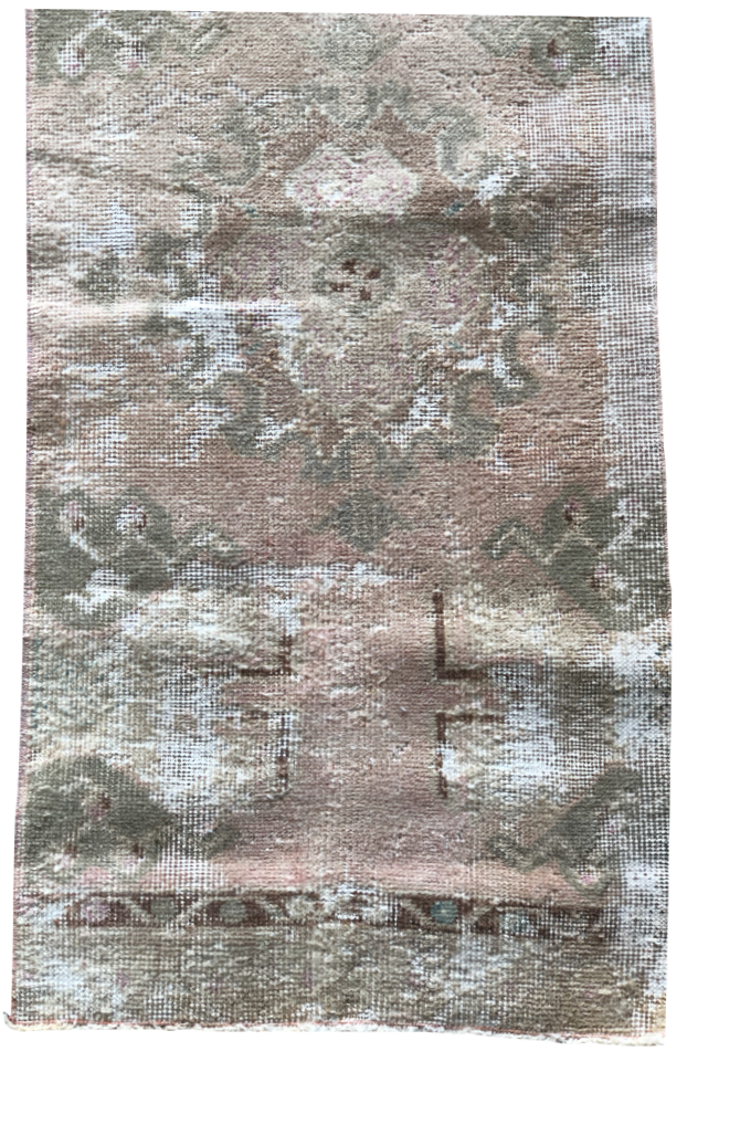 "The Shelly Mini Vintage Rug is in beautiful condition and size. This hand knotted vintage Anatolian Yastik rug is easy to care and maintain and will have very little shedding. The rug is a perfect fit for an entryway, bathroom, back door, laundry room, bedroom, or any other place!  Hand Knotted 100% Wool 41.5"" x 17.5"""