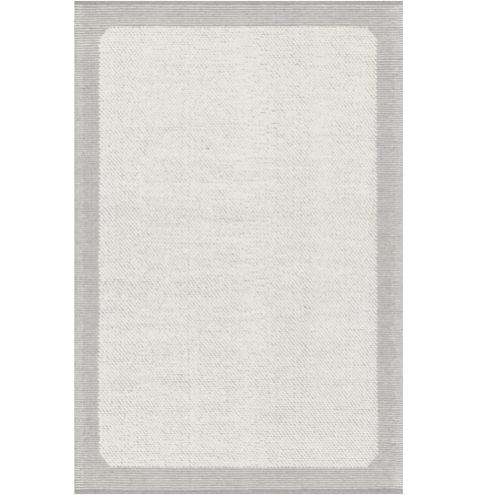 Crafted by Loloi for ED Ellen DeGeneres, the Moreno Ivory/Grey Area Rug by ED, also known as MOR-01, is a bordered area rug that offers a refined casual vibe. This hand-woven, wool-blend area rug, in tones of ivory and grey, is perfect for a family room, living room, or other high-traffic areas.