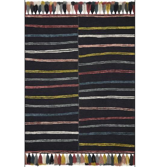 The Jamila Charcoal/Multi Area Rug is a wool hooked, viscose pile made by artisans in India and offers next level bohemian and eclectic designs. With playful tassels and bold yet current colors, it instantly adds personality in any space. Perfect for your bedroom, bathroom, or other low traffic areas of your home.