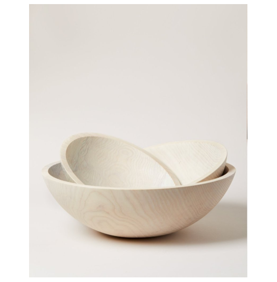 These Crafted White Wooden Bowls from Farmhouse Pottery, are tactile, down to earth and truly unique in design. We love how versatile they are, using them for serving, decorating, or making a statement.   Handmade in Vermont, US 100% Food Safe   Oil as needed. Rinse with Warm Water