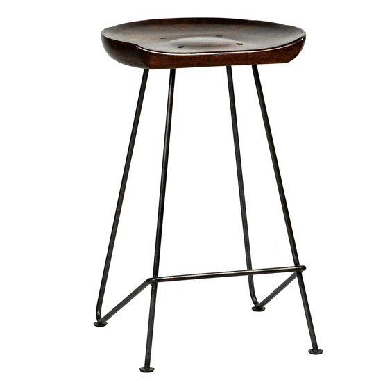"We love the dark brown acacia wood finish matched with the black iron, making the Flynn Counter Stool a statement stool for your room.   Size: 17""l x 13""d x 26""h"