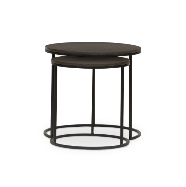 "The Lavastone Nesting Tables are durable, porous, and absorb moisture, making them the perfect end table for families who keep forgetting their coasters. We love how they slide apart for double the surface area, or layer up to save space.  The surface is hand-polished and specially sealed with a protective polyurethane wax coating, perfect for use indoors or out.  Overall Dimensions: 19.75""w x 19.75""d x 18.25""h Materials: Metal, Stone"