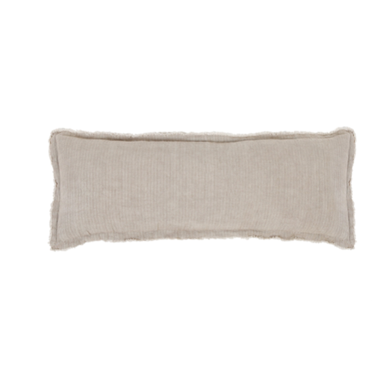 The Laurel Pale Olive 14x40 Pillow with Insert is a beautiful, stonewashed linen with frayed edges.   Details & Care: 100% Linen  Machine Wash cold: tumble dry low: warm iron as needed. Insert Included
