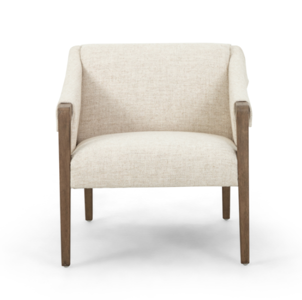 "The Bauer Thames Cream Chair has trend-forward buckles with angular arms that give any home a mid-century vibe.  Size: 27""w x 35""d x 29""h Materials: 66%Pl, 19%Pc, 15%Li, Top Grain Leather, Solid Parawood"