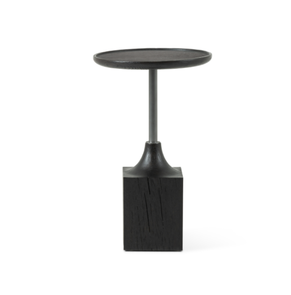 "We love how the thick base of this Brunswick Bluestone End Table tapers into a slim, sleek iron neck.   Size: 15.75""w x 15.75""d x 25.5""h Materials: Solid Oak, Iron, Bluestone, Solid Oak"