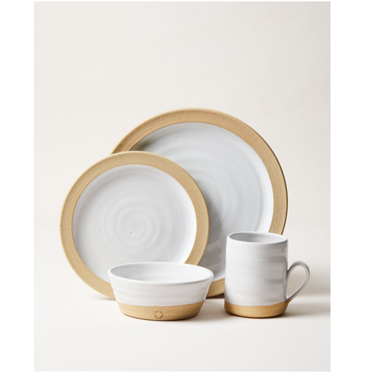 "The Silo Place Setting - 4 Piece gives your dinner experience a timeless, elegant feel   Dinner Plate: 10.5"" Side Plate: 8"" Bowl: 6"" Silo Mug: 3"" x 3.75"" - 12 oz"