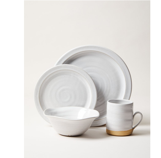 "The White Silo Place Setting - 4 Piece by Farmhouse Pottery gives your dinner experience a timeless, elegant feel  Dinner Plate: 10.5"" Side Plate: 8"" Bowl: 6"" Silo Mug: 3"" x 3.75"" - 12 oz  Wheel Thrown in Vermont, US Durable American Stoneware Oven, Microwave, and Dishwasher safe"