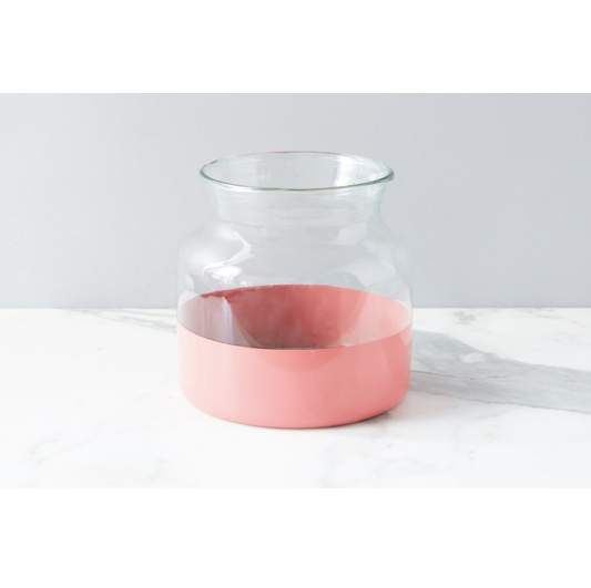 "Made from the recycled glass, this Pink Colorblock Flower Vase adds a bold splash of color to any room. Perfect vase to hold your flowers   Size: 8""d x 8.5""h"