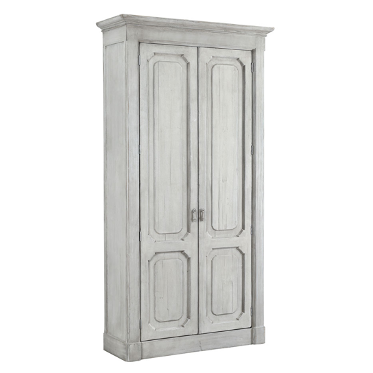 "The Bellini Cabinet is made of recycled pine and finished with off white painter and sealer. We love that two shelves are adjustable, while the other two are fixed.  Size: 47""l x 18""d x 91""h"