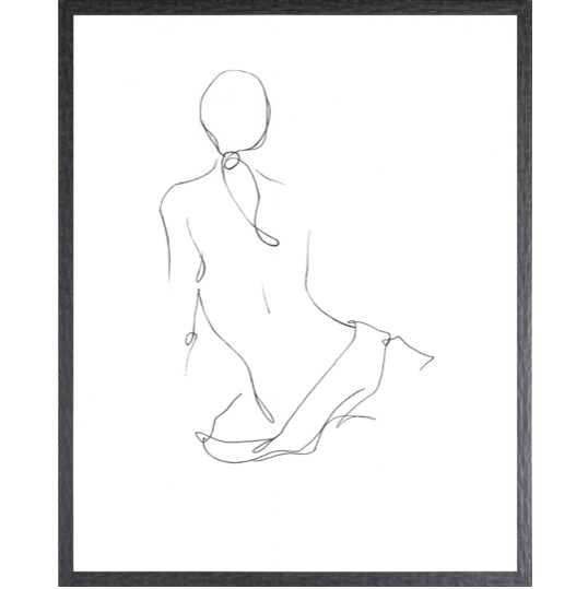 "The simplicity of each of this ink contour drawing demonstrates perfect minimalism and grace. Gestural Contour II is minimally framed in a charcoal profile with hammered satin finish.  Outside Dimensions: 17 x 21""  Artist: Ethan Harper"