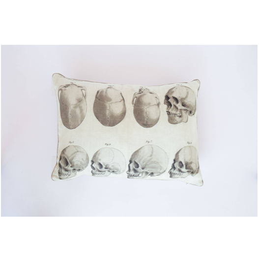 "Sophisticated and refined, modern yet classic with this Skull Figures Linen Pillow. A true friend for years to come. 100% natural European linen.  Size: 17"" x 24""  10/90 down / feather blend.   Spot clean only.  Watch the lifestyle photo of the Skull Figures Linen Pillow!"