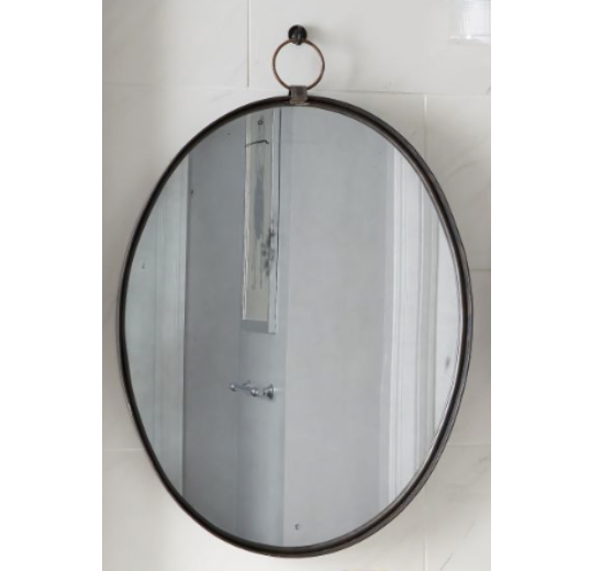 "These antique inspired metal frames create a bold statement while maintaining refined style. Created using hand forged steel, the mirrors feature a large ring for hanging on the wall, making each a unique piece.   Length: 30"" Width: 24"" Height: 2"" Weight: 17.00 lb"