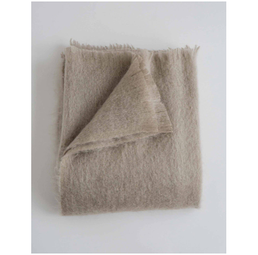 "The Mohair Throws are a cherished sweater reincarnated with their feathery texture and elegant design.  Size: 54""x72""  62% Mohair / 35% Wool / 3% Nylon.   Dry Clean Only. Woven in the United Kingdom."
