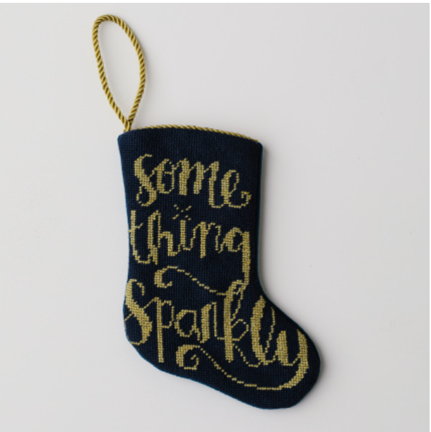 Something Sparkly Needlepoint Stocking Ornament