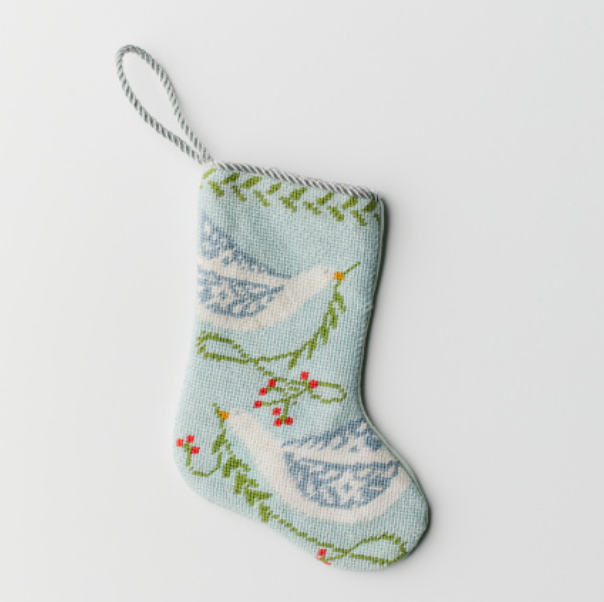 Blue Peace Doves Needlepoint Stocking Ornament