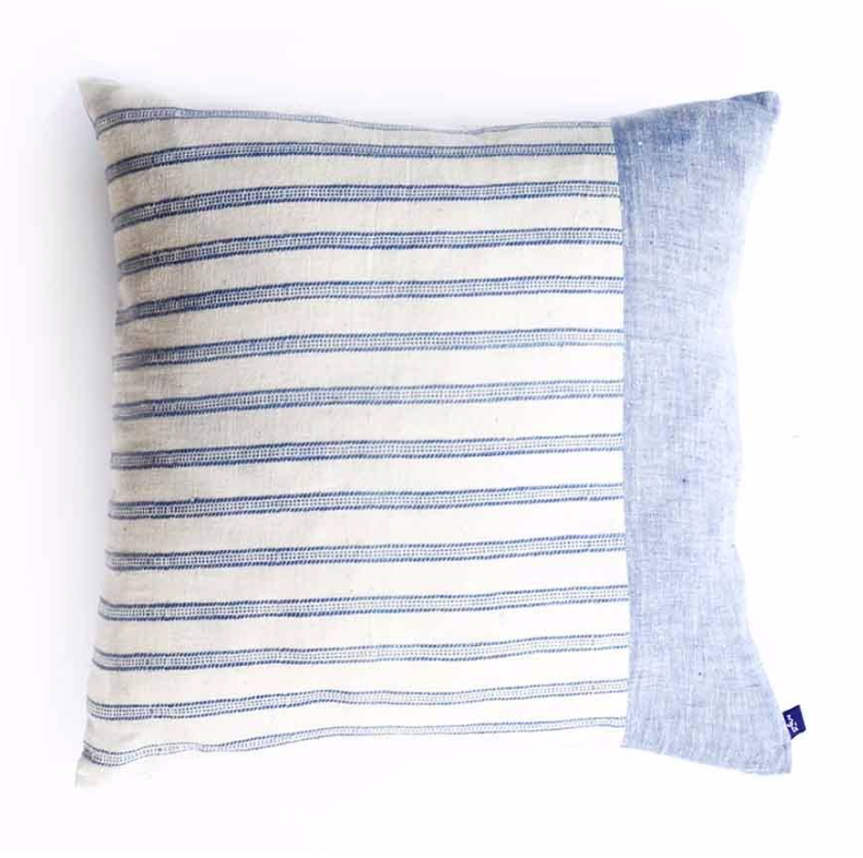 Blue Stripe Square Pillow - Amethyst Home