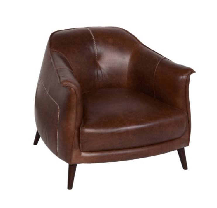 The Victor leather chair instantly transforms any living room into an infinitely sophisticated space. The tan leather upholstery and gently curved back are both chic and superbly comfortable, supported by solid oak wood legs for added durability. 35W x 36D x 29H Oak Wood Semi Analine - Full Grain Seats Up to 1 Solid Wood Legs Full Virginia Leather