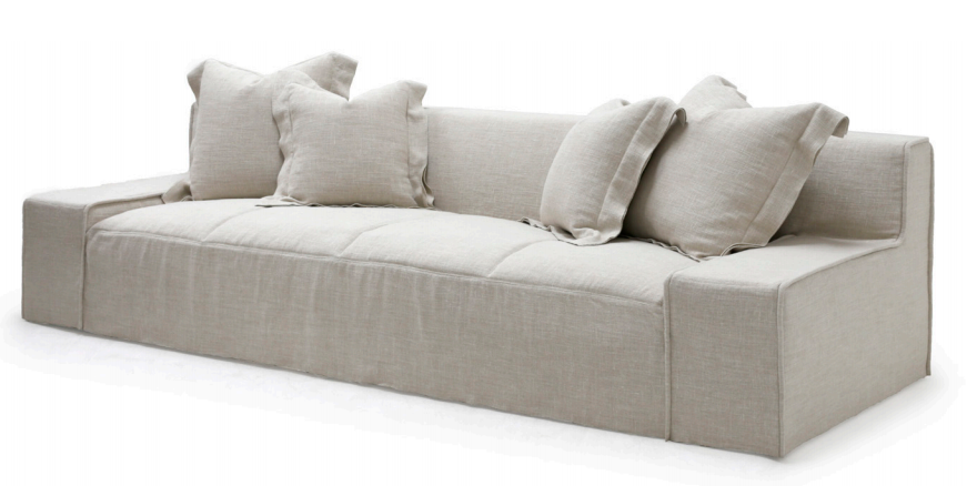The ultimate low, cozy sofa. We would put this Esme sofa from Verellen in the family room, living room, or movie theater. The juxtaposition of a juicy, miniature-spring filled down-wrapped cushion and firm back is ultra comfortable. We love the thick, firm arms for resting cell phones & snacks. Enjoy this sofa upholstered or slipcovered.