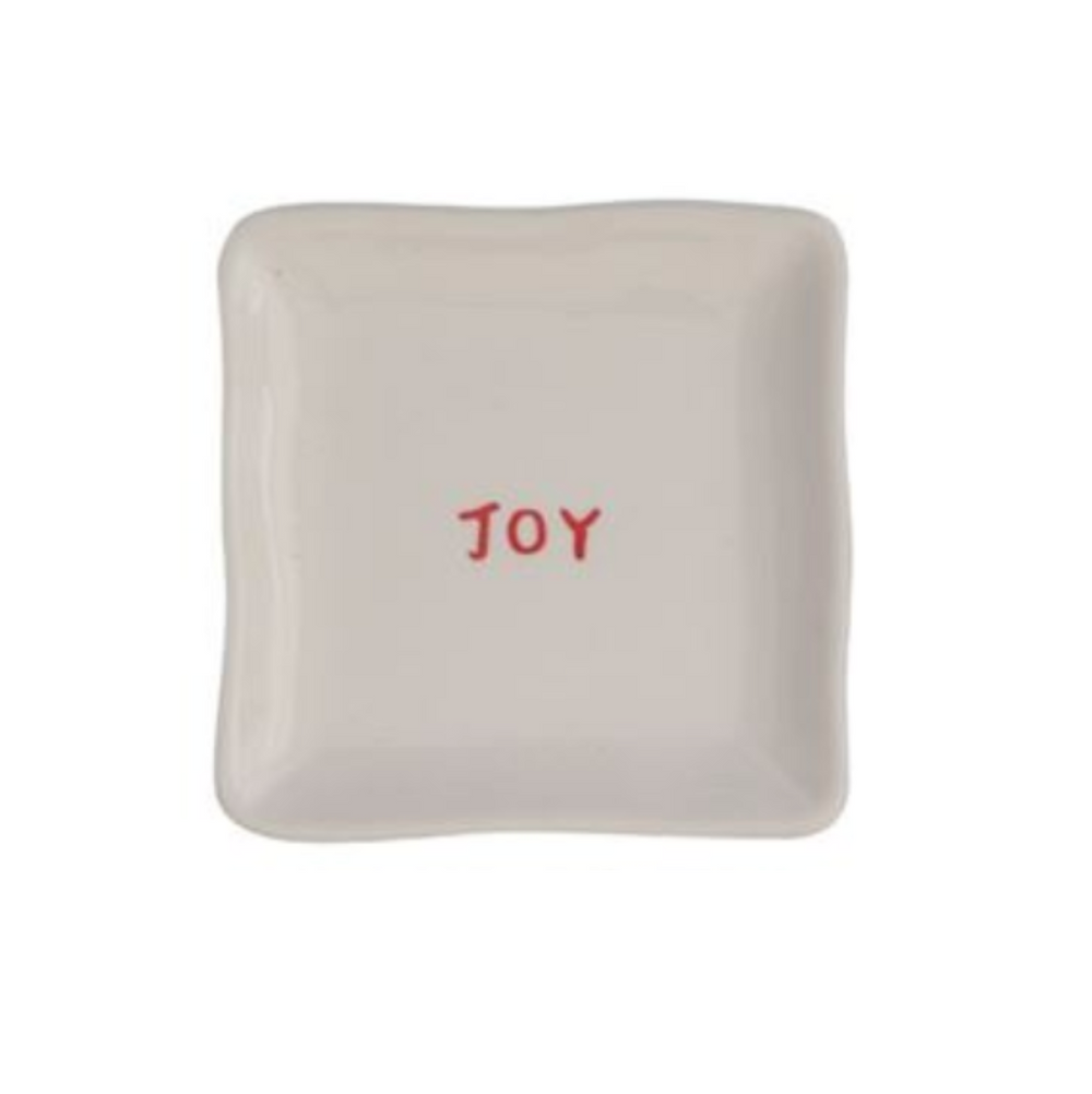 """Joy"" Red & White Square Dish"