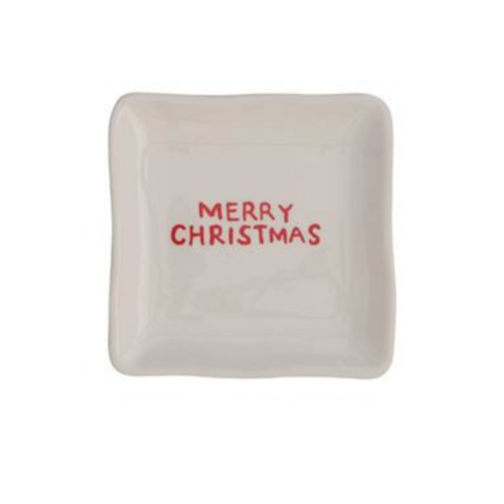 """Merry Christmas"" Red & White Square Dish"