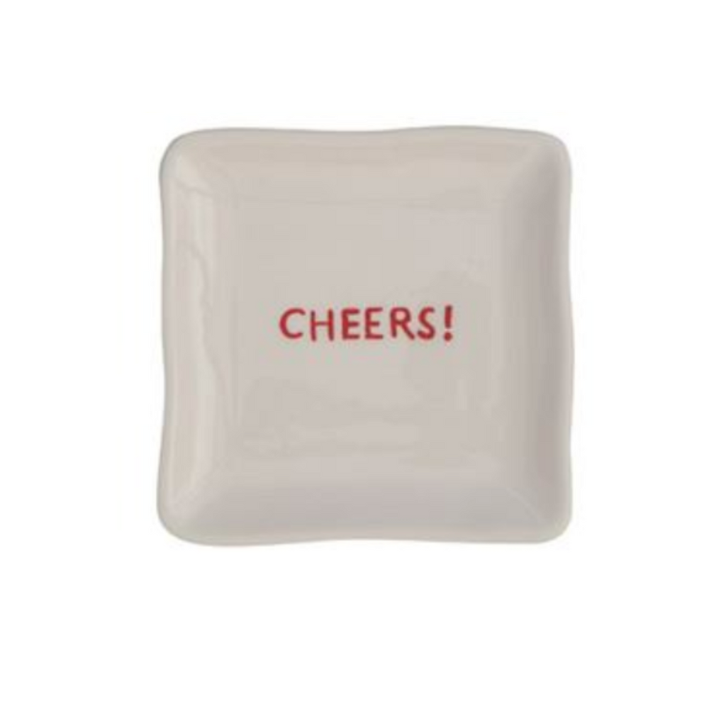 """Cheers!"" Red & White Square Dish"