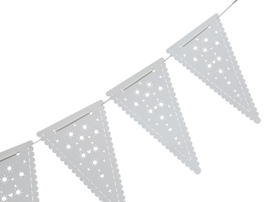 White Pennant Garland - Amethyst Home