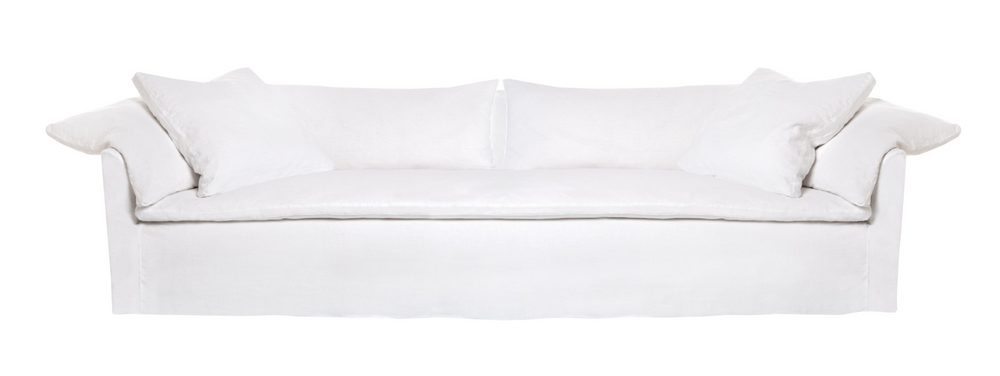"This cozy Donato Sofa from Cisco Brothers is our favorite!  As shown slipcovered in Mariet White 100% linen fabric.  97""w x 32""h x 41""d Seat Space: 85""w x 24""d x 16""h"