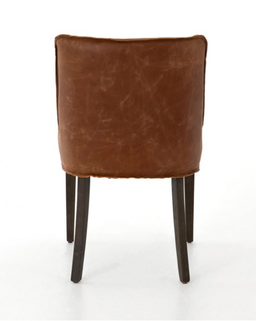Aria Cognac Leather Dining Chair - Amethyst Home