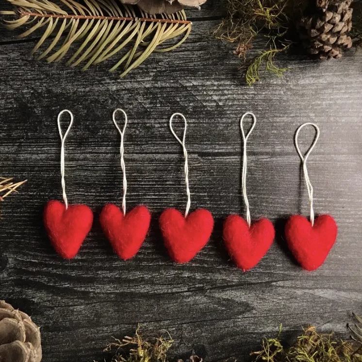 Felted Wool Mini Heart Ornament