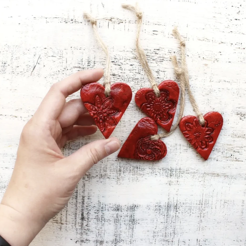 Rustic Red Heart with Lace Detail Ornament