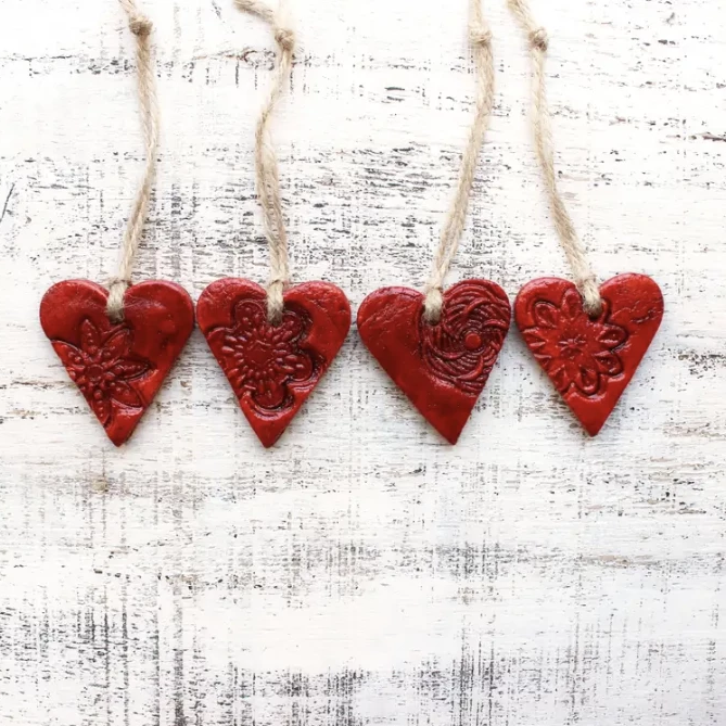Rustic Red Heart with Lace Detail Ornament - Amethyst Home